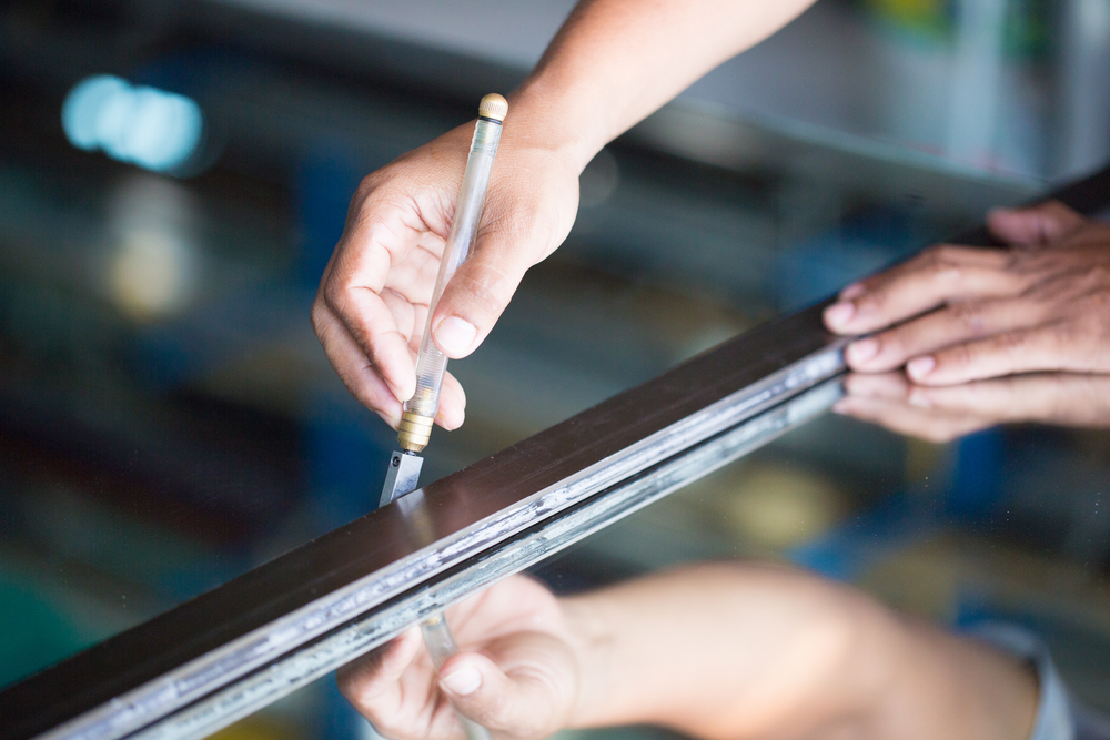 Cutting Laminated Glass for Custom Glass Installation & Repair Service in Kirkland